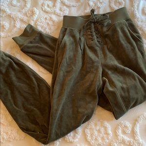 Velvet green lace up velour tracksuit  pants